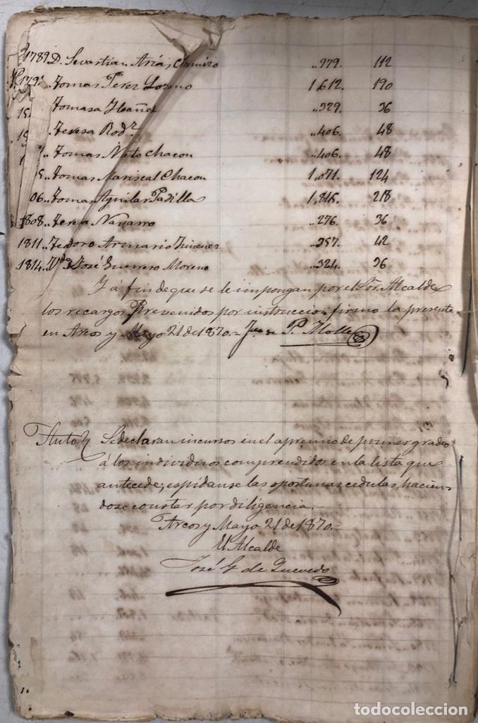 Manuscritos antiguos: ARCOS DE LA FRONTERA, 1869-70. RELACION DE DEUDORES DE LA CONTRIBUCION TERRITORIAL. LISTA TRIMESTRAL - Foto 81 - 169270744