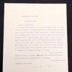 Manuscritos antiguos: GERARDO DIEGO - CARTA MECANOGRAFIADA - FIRAMADA A MANO POR GERARDO DIEGO - 1952. Lote 169429216