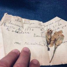 Manuscritos antiguos: RECUERDO FUNERARIO TU AMIGA NO TE OLVIDARA 21 ENERO 1936 CLAVELES SECOS DE TU CORONA 11X5,5CMS. Lote 169465616