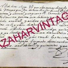 Manuscritos antiguos: SEGOVIA, 1596, RECIBO MISAS POR EL ALMA DE DON ORACIO DE SOLIER, RARISIMO. Lote 169555848