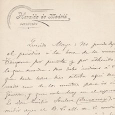Manuscritos antiguos: AUGUSTO DE FIGUEROA. CARTA MANUSCRITA, FIRMADA Y FECHADA EN 1896, DIRIGIDA A MIGUEL MOYA. Lote 169772764