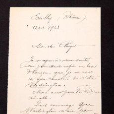 Manuscritos antiguos: GABRIEL BONVALOT - EXPLORADOR - CARTA MANUSCRITA Y AUTOGRAFA - 1923. Lote 169800208