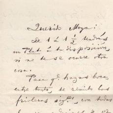 Manuscritos antiguos: MARIANO DE CAVIA. NOTA MANUSCRITA Y FIRMADA, ESCRITA A CUATRO CARAS Y DIRIGIDA A MIGUEL MOYA.. Lote 169840976