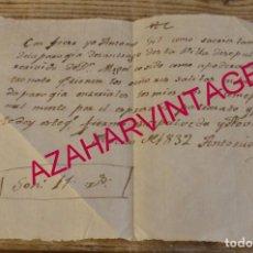 Manuscritos antiguos: 1832, SEPULVEDA, SEGOVIA, RECIBO DIEZMO IGLESIA DE SANTIAGO. Lote 170019960