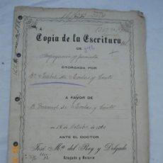 Manuscritos antiguos: ESCRITURA MANUSCRITA SEGREGACIÓN Y PERMUTA A FAVOR DE MANUEL DE RODAS LA RINCONADA SEVILLA 1910. . Lote 170547056