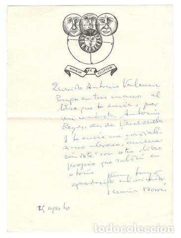 CARTA MANUSCRITA DE TOMÁS BORRÁS, FIRMADA. (C. 1973) (Coleccionismo - Documentos - Manuscritos)