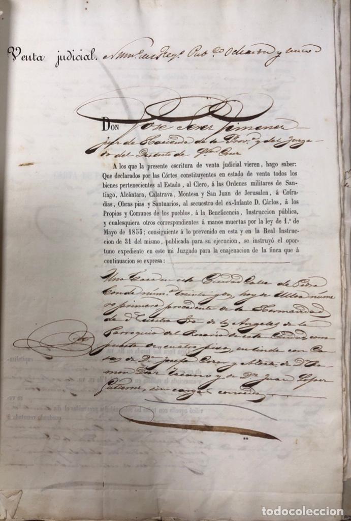 Manuscritos antiguos: CADIZ, 1859. VENTA JUDICIAL. COMPRA DE LA ESCRITURA DE UNA CASA EN LA CALLE PEDRO CONDE Nº32. - Foto 2 - 171397387