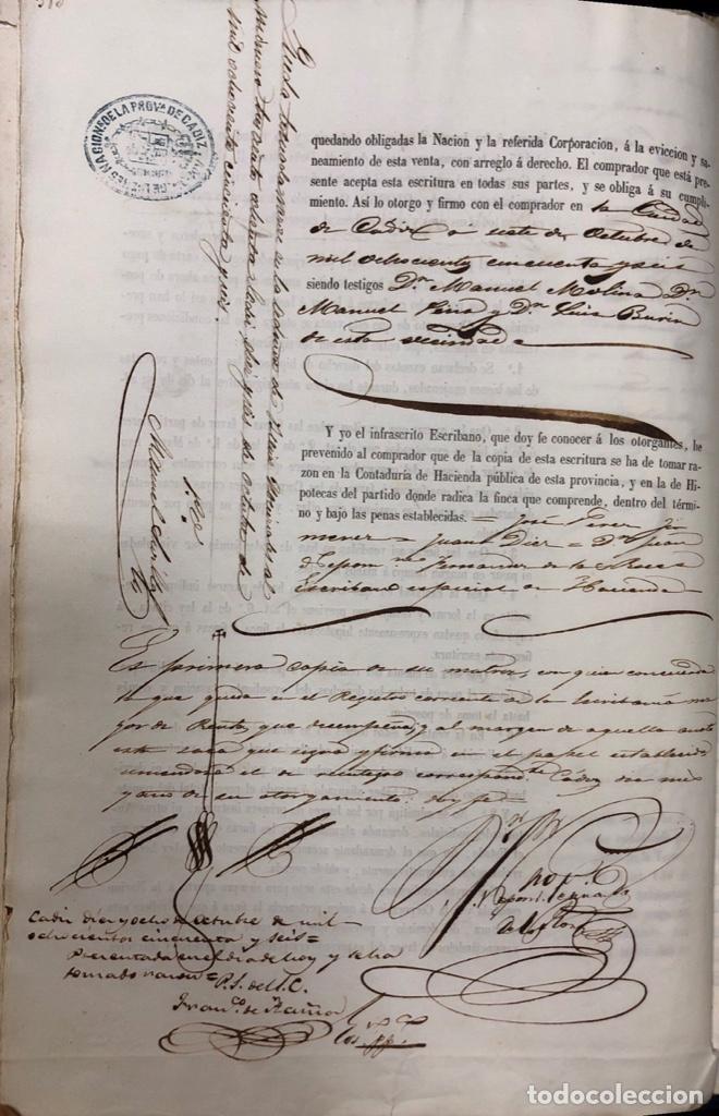 Manuscritos antiguos: CADIZ, 1859. VENTA JUDICIAL. COMPRA DE LA ESCRITURA DE UNA CASA EN LA CALLE PEDRO CONDE Nº32. - Foto 7 - 171397387