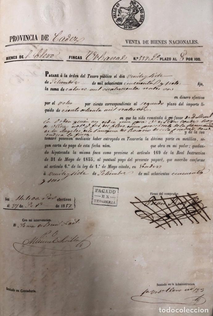 Manuscritos antiguos: CADIZ, 1859. VENTA JUDICIAL. COMPRA DE LA ESCRITURA DE UNA CASA EN LA CALLE PEDRO CONDE Nº32. - Foto 13 - 171397387