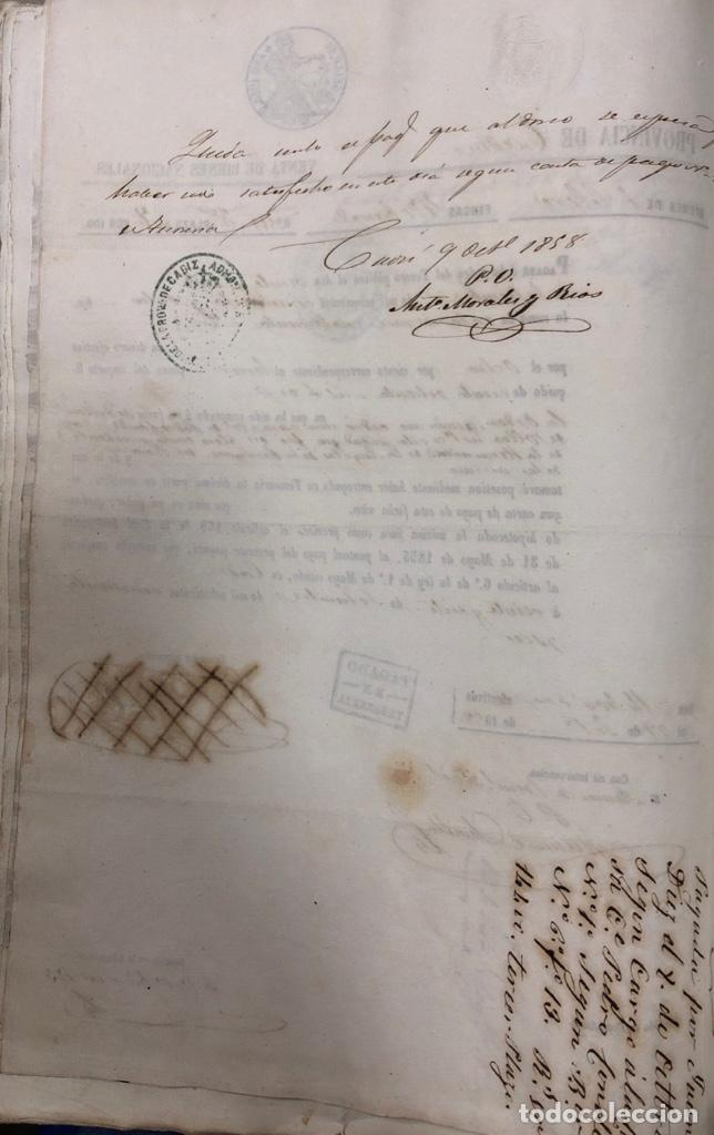 Manuscritos antiguos: CADIZ, 1859. VENTA JUDICIAL. COMPRA DE LA ESCRITURA DE UNA CASA EN LA CALLE PEDRO CONDE Nº32. - Foto 14 - 171397387