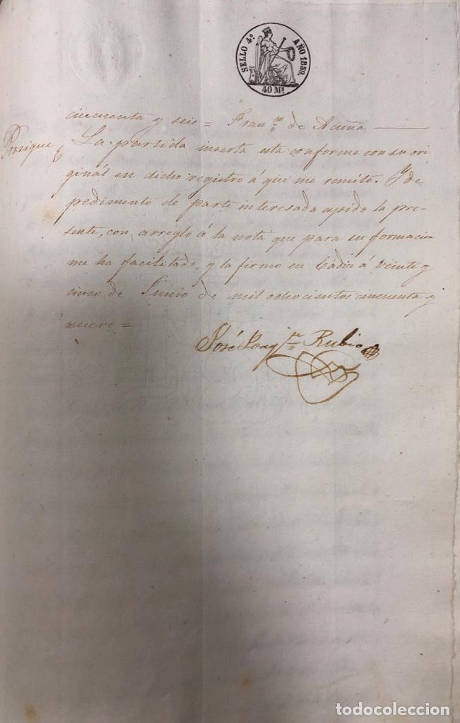 Manuscritos antiguos: CADIZ, 1859. VENTA JUDICIAL. COMPRA DE LA ESCRITURA DE UNA CASA EN LA CALLE PEDRO CONDE Nº32. - Foto 17 - 171397387