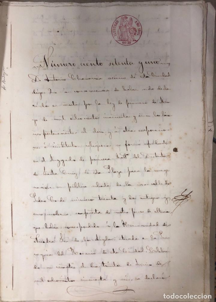 CADIZ, 1861. ESCRITURA DE OBLIGACION DE ANTONIO CHAVARRIA ANTE UN ESCRIBANO PUBLICO. (Coleccionismo - Documentos - Manuscritos)