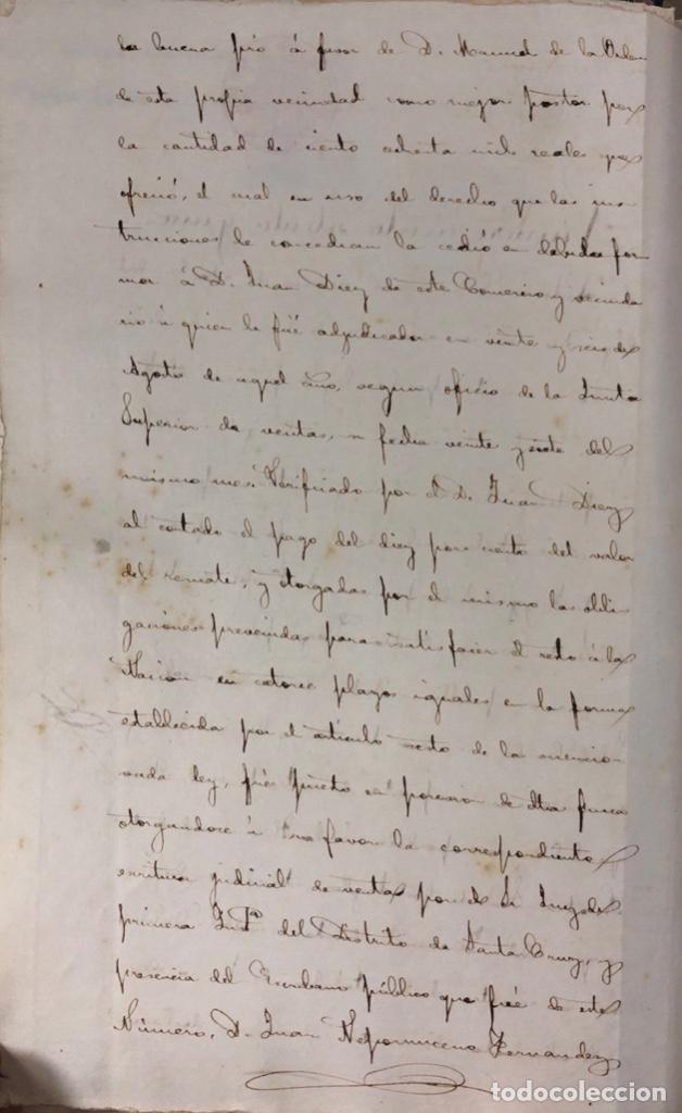 Manuscritos antiguos: CADIZ, 1861. ESCRITURA DE OBLIGACION DE ANTONIO CHAVARRIA ANTE UN ESCRIBANO PUBLICO. - Foto 2 - 171402100