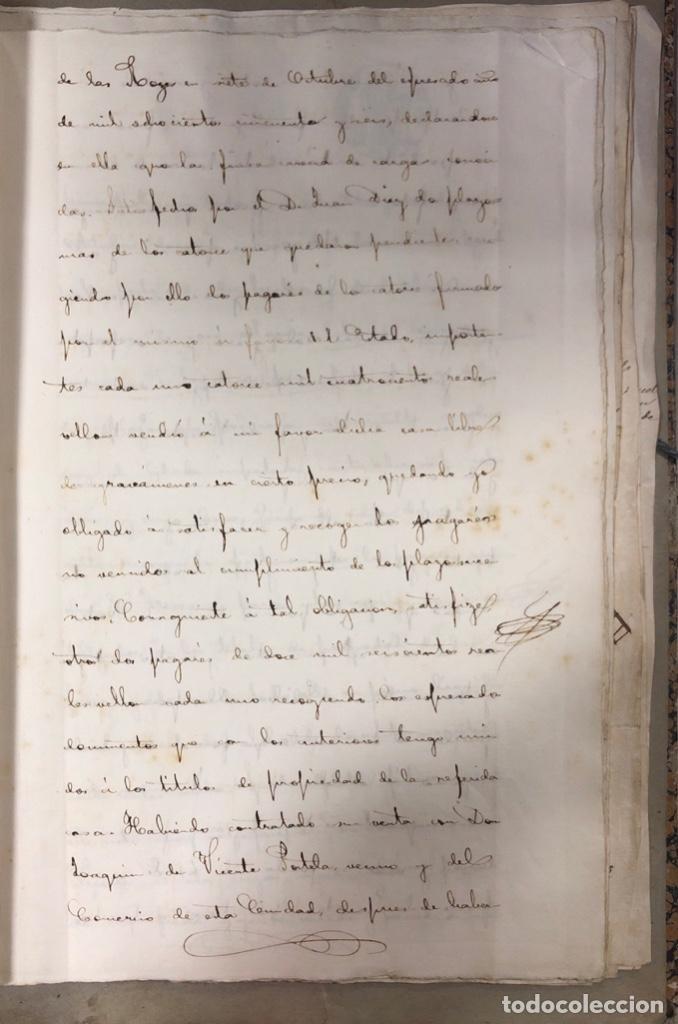 Manuscritos antiguos: CADIZ, 1861. ESCRITURA DE OBLIGACION DE ANTONIO CHAVARRIA ANTE UN ESCRIBANO PUBLICO. - Foto 3 - 171402100