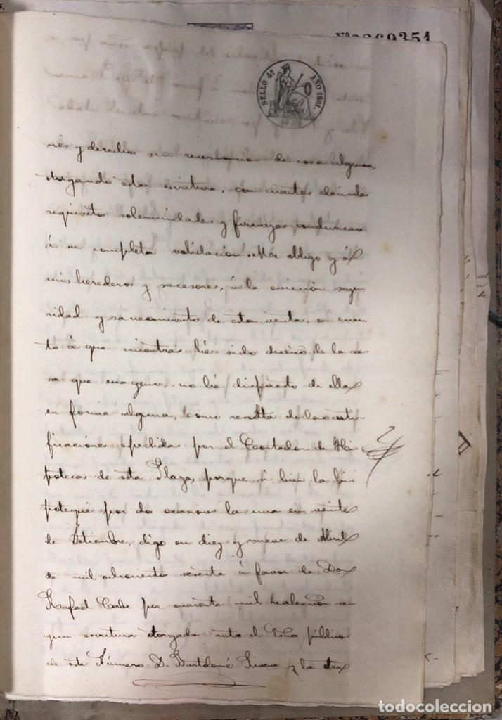 Manuscritos antiguos: CADIZ, 1861. ESCRITURA DE OBLIGACION DE ANTONIO CHAVARRIA ANTE UN ESCRIBANO PUBLICO. - Foto 7 - 171402100