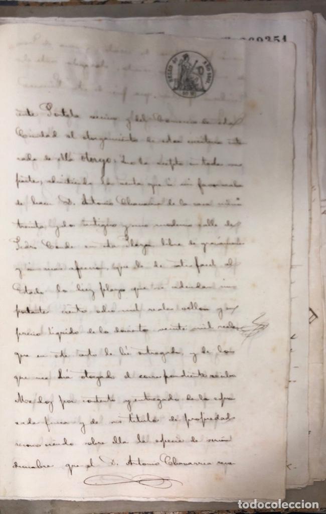 Manuscritos antiguos: CADIZ, 1861. ESCRITURA DE OBLIGACION DE ANTONIO CHAVARRIA ANTE UN ESCRIBANO PUBLICO. - Foto 9 - 171402100