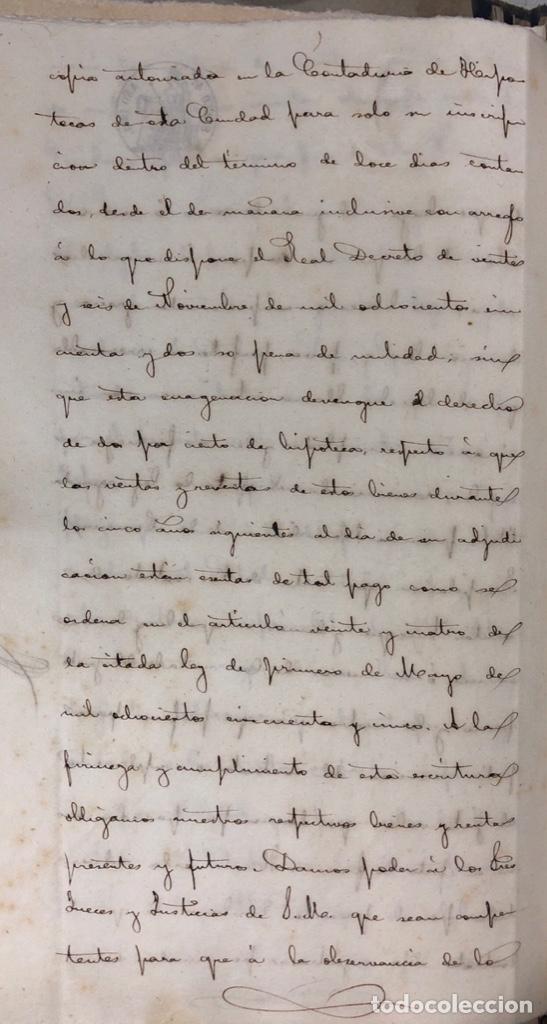 Manuscritos antiguos: CADIZ, 1861. ESCRITURA DE OBLIGACION DE ANTONIO CHAVARRIA ANTE UN ESCRIBANO PUBLICO. - Foto 10 - 171402100