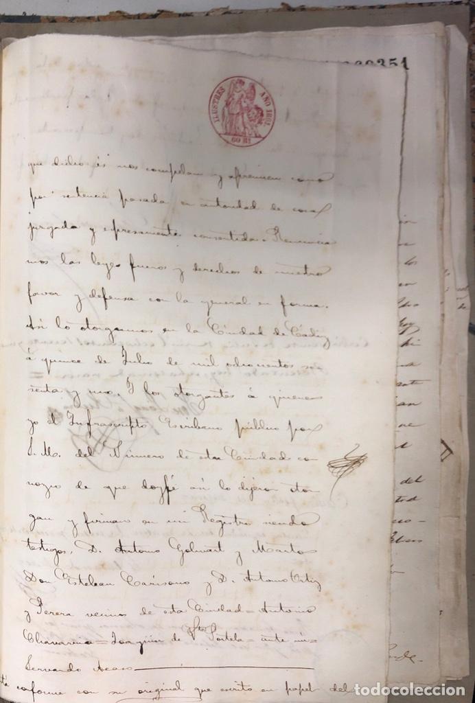 Manuscritos antiguos: CADIZ, 1861. ESCRITURA DE OBLIGACION DE ANTONIO CHAVARRIA ANTE UN ESCRIBANO PUBLICO. - Foto 11 - 171402100