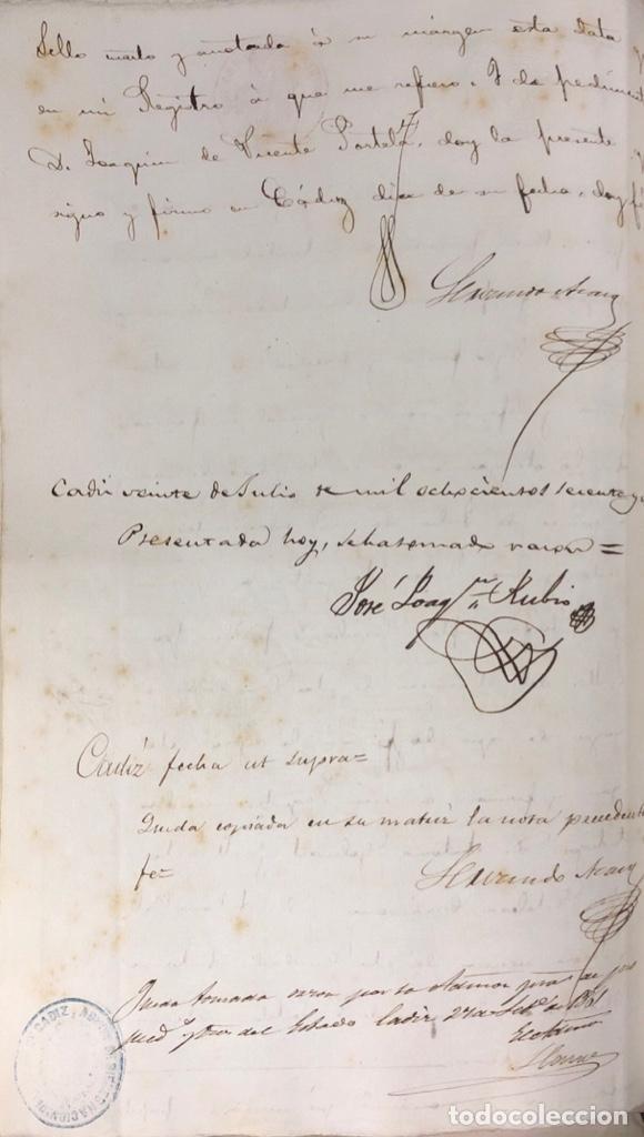 Manuscritos antiguos: CADIZ, 1861. ESCRITURA DE OBLIGACION DE ANTONIO CHAVARRIA ANTE UN ESCRIBANO PUBLICO. - Foto 12 - 171402100