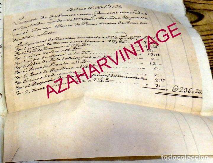 BILBAO, 1734, MATERIAL LLEVADO A SEPULVEDA POR UN ARRIERO,RARO DOCUMENTO (Coleccionismo - Documentos - Manuscritos)