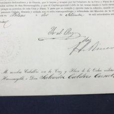 Manuscritos antiguos: 1875. FIRMA ALFONSO XII. NOMBRAMIENTO CABALLERO ORDEN MILITAR DE SAN HERMENEGILDO.. Lote 171618877