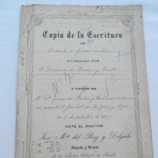 Manuscritos antiguos: ESCRITURA DE PERMUTA DE FINCAS RÚSTICAS LA RINCONADA. D. MANUEL DE RODAS Y CUETO. 1909.. Lote 171748159