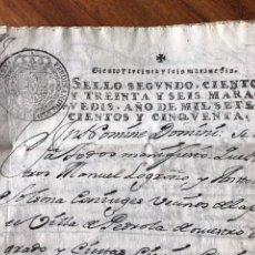 Manuscritos antiguos: SELLO SEGUNDO 1750. VENTA DE UNA VIÑA, PEDROLA. ZARAGOZA.. Lote 172080634