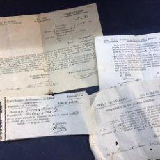 Manuscritos antiguos: 4 RECIBOS CONTRIBUCIONES DE LA VILLA DE PEDROLA1850-1872. 2 FIRMAS DE ALCALDES DE LA VILLA.. Lote 172096497