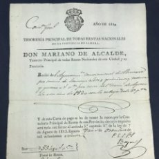 Manuscritos antiguos: 1820. ALMARAZ, ZAMORA. PAGO DEL AYUNTAMIENTO CONSTITUCIONAL.. Lote 172162412