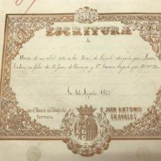 Manuscritos antiguos: BORJA 1862. VENTA ALBAL A ELORRIAGA Y TEJADA (TORREFLORIDA) BELLA LITOGRAFÍA NOTARIO GRABALOS. Lote 172233098