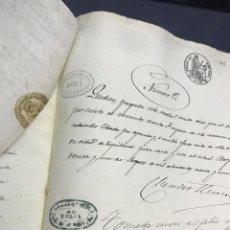 Manuscritos antiguos: BORJA 1861. VENTA ALBAL A ELORRIAGA Y TEJADA (TORREFLORIDA) BELLA LITOGRAFÍA NOTARIO GRABALOS. Lote 172233392