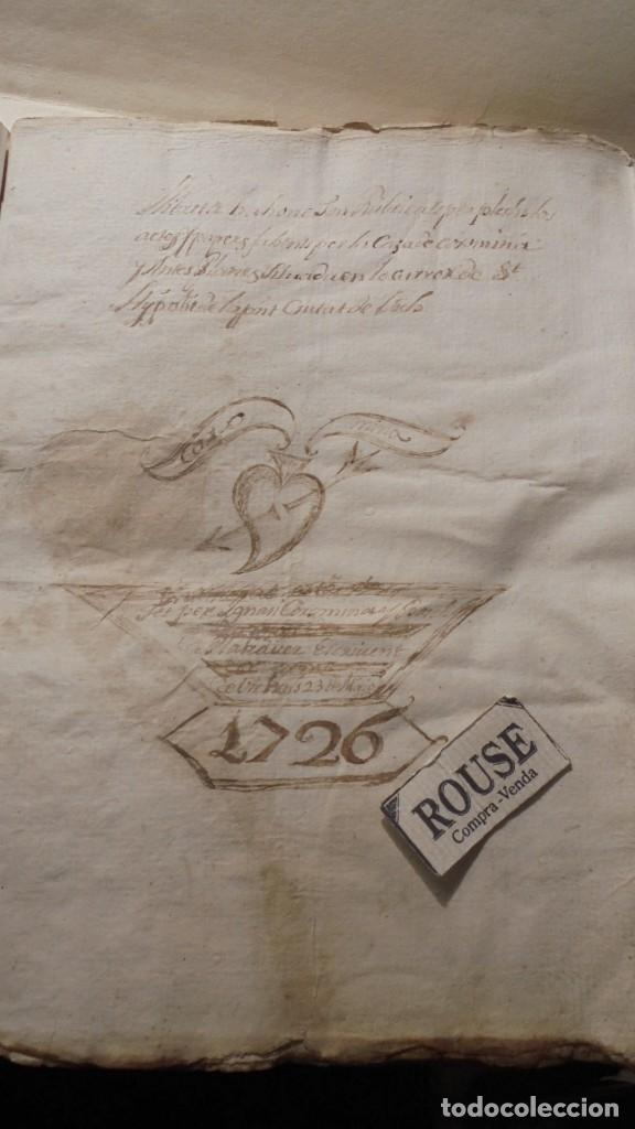 Manuscritos antiguos: ANTIGUO MANUSCRITO LIBRO / LIBRETA - VICH IMPORTANTE AUN QUE EN 1726 -1776 NO SE HAYAN DADO CON LOS - Foto 2 - 172614332