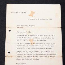 Manuscritos antiguos: NICOLÁS GUILLÉN CARTA MECANOGRAFIDA Y FIRMADA POR ÉL. Lote 173051005