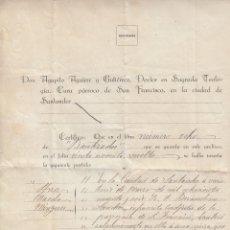 Manuscritos antiguos: 1922 SANTANDER. CERTIFICADO BAUTISMO PARROQUIA DE SAN FRANCISCO . Lote 173091315