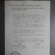 Manuscritos antiguos: SELLO GRABADO SEMINARIO CALAHORRA LA RIOJA CERTIFICADO NOTA AÑO 1897. Lote 173418972
