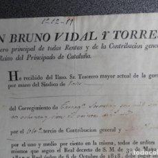 Manuscritos antiguos: DOCUMENTO AÑO 1819 VALLS TARRAGONA COBRO RENTAS REINO DEL PRINCIPADO DE CATALUÑA - TESORERO GUERRA. Lote 173602733