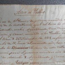 Manuscritos antiguos: MANUSCRITO AÑO 1819 VALLS TARRAGONA SUBASTA CONTRIBUCIONES AGUARDIENTE VINO VINAGRE ACEITE CARNE . Lote 173602922