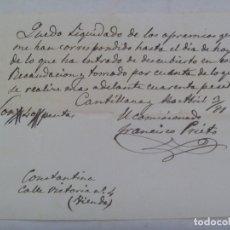 Manuscritos antiguos: RECIBO DE PAGO DE PROPIETARIO DE UNA TIENDA DE CONSTANTINA ( SEVILLA ). CANTILLANA , 1881. SIGLO XIX. Lote 173674568