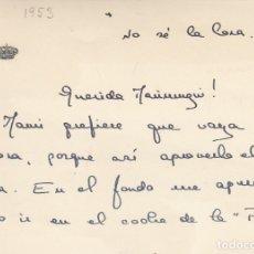 Manuscritos antiguos: PILAR DE BORBON (HERMANA DE JUAN CARLOS I). TARJETÓN PERSONAL ENVIADO A MARIMUGUI. AÑO 1953. Lote 173913543