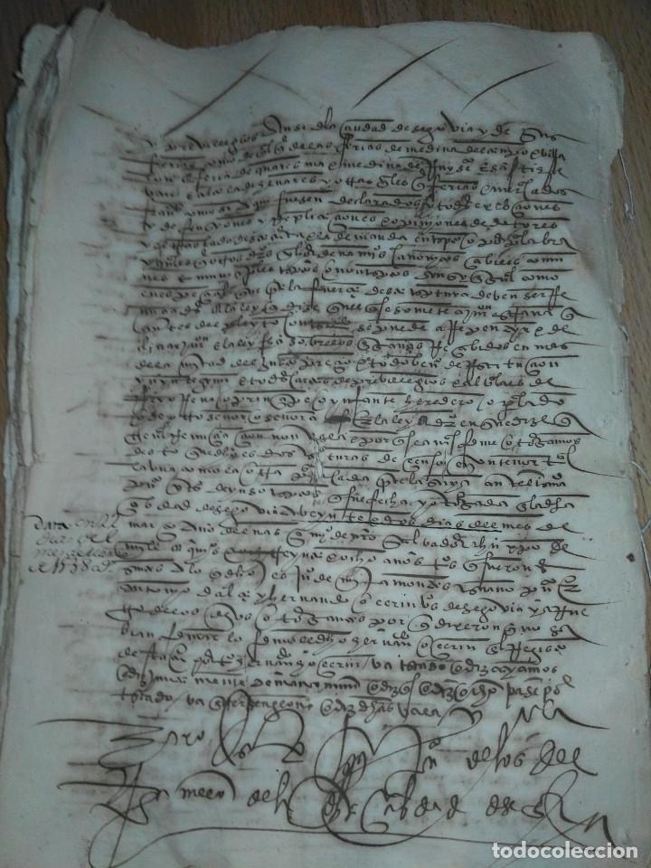 Manuscritos antiguos: Hojas manuscritas medievales con filigrana - Foto 12 - 173982648