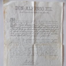 Manuscritos antiguos: DOCUMENTO ALFONSO XII. Lote 175044733
