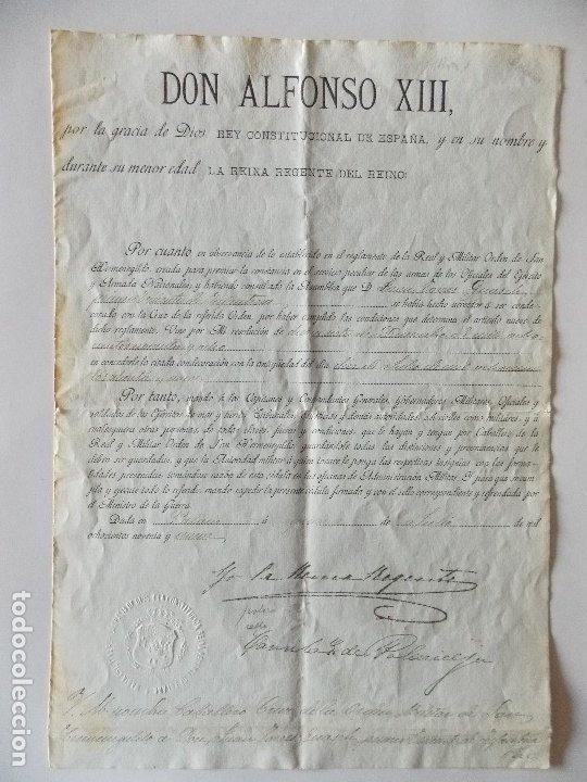 DOCUMENTO ALFONSO XIII (Coleccionismo - Documentos - Manuscritos)