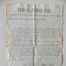 Manuscritos antiguos: DOCUMENTO ALFONSO XIII. Lote 175044857