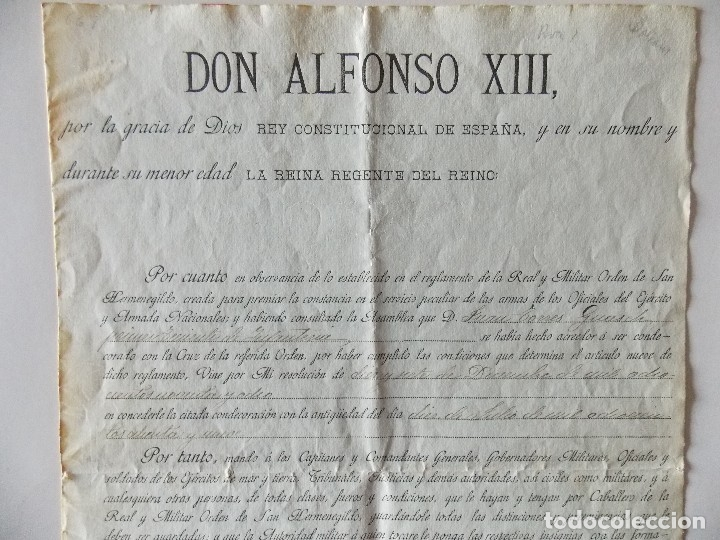 Manuscritos antiguos: DOCUMENTO ALFONSO XIII - Foto 2 - 175044857