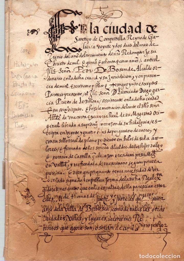 MANUSCRITO DE HIDALGUIA A FAVOR DE DIEGO GARCIA PRIETO DE LECIÑANA. BRIVIESCA, BURGOS. AÑO 1585 (Coleccionismo - Documentos - Manuscritos)