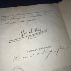Manuscritos antiguos: 1915. FIRMA ALFONSO XIII, Y MANUEL DE BURGOS Y HARO MINISTRO GRACIA Y JUST. TITULO NOTARIO CARIÑENA.. Lote 175448544