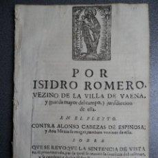 Manuscritos antiguos: RARO DOCUMENTO AÑO 1672 BAENA CÓRDOBA SENTENCIA PLEITO 42 PÁGS GRABADO PORTADA NO ESTÁ EN BNE. Lote 175466374