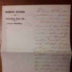 Manuscritos antiguos: DOCUMENTO REGIMIENTO DE INFANTERIA CASTILLA N 16 1854. Lote 175625354