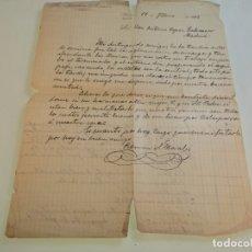 Manuscritos antiguos: CARTA MANUSCRITA ENVIADA DESDE HUÉSCAR EL 12 DE FEBRERO DE 1912. RAMÓN SÁNCHEZ MORALES.. Lote 175654170
