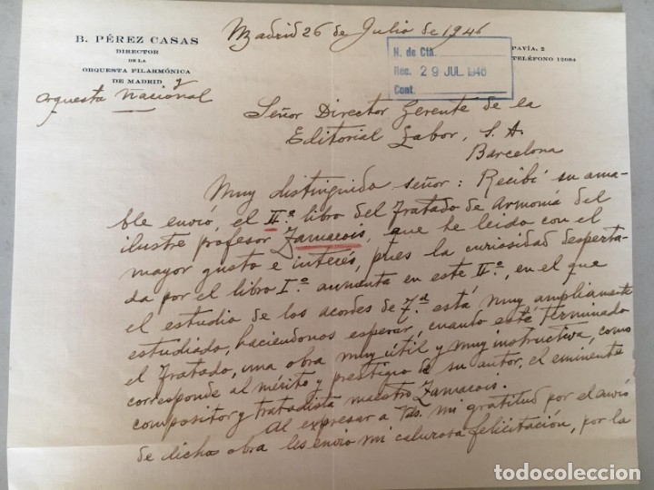 BARTOLOMÉ PÉREZ CASAS - CARTA MANUSCRITA, LOCALIZADA, FECHADA Y FIRMADA (Coleccionismo - Documentos - Manuscritos)